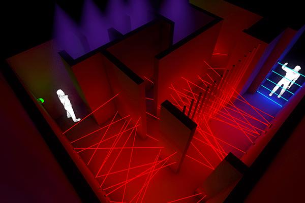 Visualisierung der zweiten Ebene eines Laserspiels