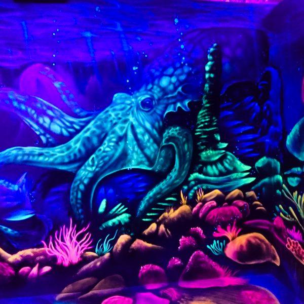 3D Schwarzlicht Oktopus
