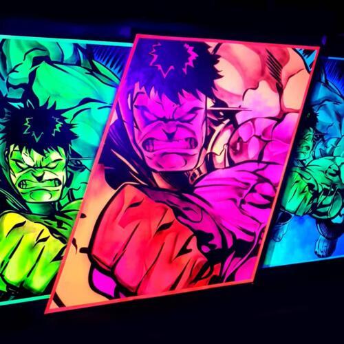 Schwarzlicht Kunst Superhelden
